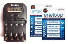 UNiROSS LCD 1-2 HOUR AA/AAA CHARGER& 8 x AA ENELOOP Rechargeable Batteries