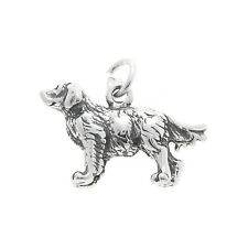 STERLING SILVER THREE DIMENSIONAL GOLDEN RETRIEVER DOG CHARM PENDANT