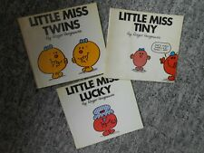 LITTLE MISS TINY, TWINS, LUCKY 3 BOOKS ROGER HARGREAVES 1ST EDT 1981/1984 MR MEN