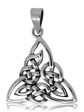 925 solid Sterling Silver Celtic art knot Neo Pagan Triquetra Trinity pendant