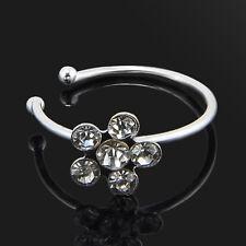 Women Fashion Rhinestone Crystal Flower Nose Ring Stud Body Piercing Jewelry New