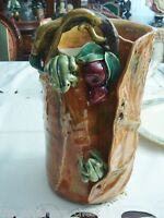 Ikebana Ware Japan? hand made  gorgeous terracota frog, apples and leaves vase[8
