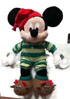"Disney Store Mickey Mouse Christmas Xmas 2009 18"" Plush w/ Sweater Scar Holiday"