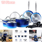 15 Piece Hammered Cookware Set Nonstick Granite Coated Pots and Pans Set Blue