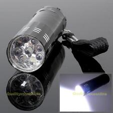 Portable Mini Aluminum 9 LED Bright Camping Hiking Flashlight Pocket Torch Light
