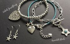 Silver TURQUOISE Hearts and stars stretch BRACELET STACK And free star earrings