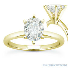14k Yellow Gold Solitaire Engagement Ring Forever One D-E-F Oval Cut Moissanite