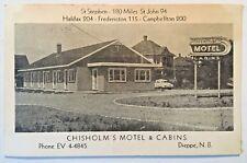 Dieppe, New Brunswick Canada VINTAGE POSTCARD Chisholm's Motel & Cabins RARE