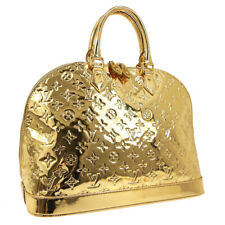 LOUIS VUITTON ALMA MM HAND BAG MI4068 PURSE GOLD MONOGRAM MIROIR M93624 K08663