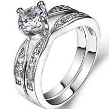 Size 4-12 925 Sterling Silver Wedding Ring Pair Set Engagement Two-in-One Halo