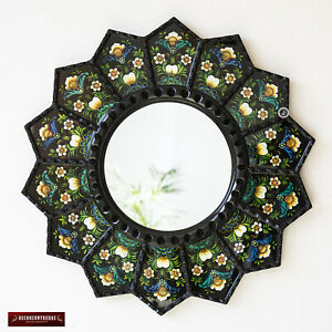 "Decorative Luxury Round Mirror 23.6"", Black Round Mirror Wall Art Glass Peruvian"