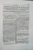 1784 NUOVO GIORNALE D'ITALIA: BONIFICHE DELLE PALUDI E DELLE TERRE INONDATE