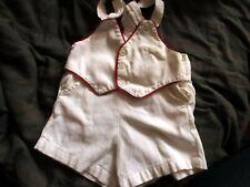 6/12m 1t BOYS Vtg 50s Cotton Playsuit Overall Romper Shorts white johnston usa