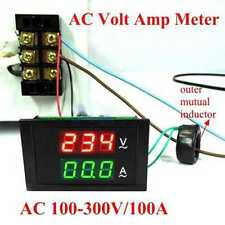 LED Digital Voltmeter Ammeter Current Ampere Volt Meter Panel AC 80-300V 100A
