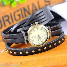 Hot Fashion Black Weave Wrap Around Leather Bracelet Lady Woman Wrist Watch