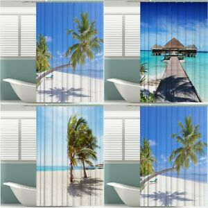 """Shower Curtain Set Polyester Bathroom Beach 3D Printed Waterproof with Hooks 71"""""""