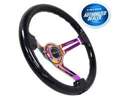 """NRG Steering Wheel Sparkle Wood Neo chrome Spokes 350mm 3"""" Deep RST-018BSB-MC"""