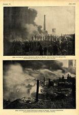 Bilder von Brand-u.Löscharbeiten der Teerfabrik in Parsing bei München v. 1900