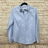 ANN TAYLOR LOFT 'THE SOFTENED SHIRT' LIGHT BLUE BUTTON DOWN WITH GEMS - SZ M