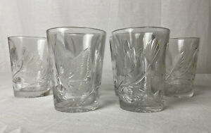 American Brilliant Period ABP Cut Glass Intaglio Butterly Tumblers Set Of 6