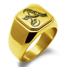 Stainless Steel Monogram Royal Initial A Mens Square Biker Style Signet Ring