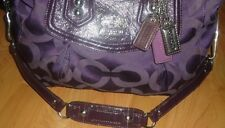 COACH Madison Audrey OP Art Sateen Signature Dark Purple Satchel Bag/Purse