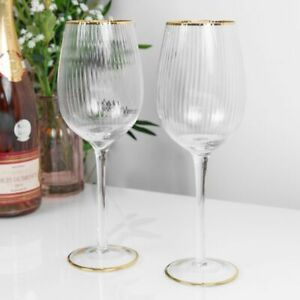 Pair of Gold Rimmed Wine Goblets - Estella from the Sophia Collection