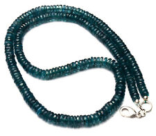 NATURAL GEM RARE GREEN COLOR KYANITE 5 TO 6MM FACETED HEISHI BEADS NECKLACE 17""