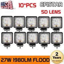 10X 27W LED Square Work Light Flood Offroad Tractor Car Boat Truck 12V 24V 5D+