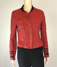 RARE Women's Free People Red Cotton Millitary Jacket SZ M $250