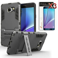 FOR SAMSUNG GALAXY NOTE 5 CASE SHOCKPROOF ARMORED HYBRID STAND COVER + FILMS