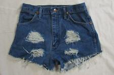 "Womens 27"" Zipper Fly Wrangler Cut Off Denim Shorts Jeans Distressed Boyfriend"