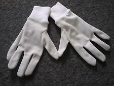 New White stretchy silver glittery sparkly fabric gloves Medium One size