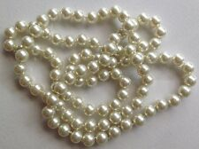collier sautoir vintage perle qualité nacré blanche d'1cm noeud de soutient 523