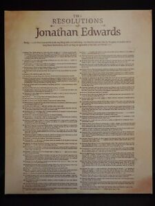 """1723 The Resolutions of Jonathan Edwards on Canvas.  16"""" x 20"""" . w/hanger"""