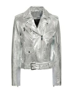Women Genuine Lambskin Biker Metallic Real Leather Silver Motorcycle Jacket