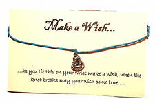 Hippy Silver Tibetan Lucky Buddha Charm Friendship Wish Bracelet On Gift Card