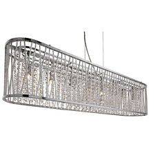 Elise Chrome 8 Bright Light Ceiling Lighting Fitting With Crystal Button Drops