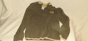 Columbia Boys Medium Olive Tan 1/4 Zip 100% Cotton Long Sleeve Pullover Sweater