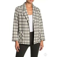 Everleigh Large Women Open Front Jacket Blazer Gray Black Windowpane Print NEW