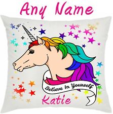 Personalised  Cushion Unicorn Birthday Girl Gift  Pillow Case Cover and Insert