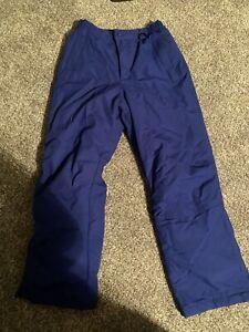 Lands End Ski Snow Winter Pants Royal Blue Reinforced Knees Boys Girls Size 12