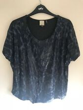 Ecru - Women's Ladies Boxy Sequin front Tee - Blue/Grey M UK 12 - T-Shirt Party