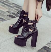 Women Chunky High Heel Peep Toe Sandals Nightclub Buckle Zip Lace Up Shoes Jd_uk