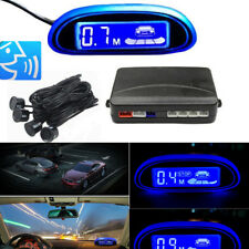 Black 22mm Parking Car Voice Alarm Kit Reversing 4 Sensor Radar Display Blue LED