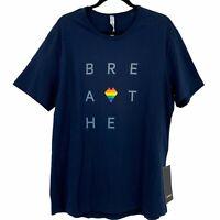 Lululemon Pride Rainbow Heart Breathe 5 year Basic Blue T-Shirt Mens X-Large