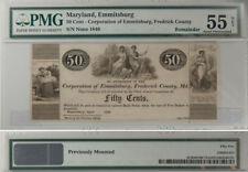 1840 50 CENTS CORPORATION OF EMMITSBURG, FREDERICK COUNTY, MD PMG NET AU-55