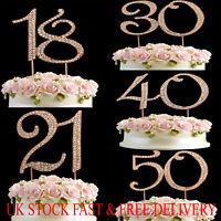 Rose Gold Diamante Rhinestone Cake Pick Topper Birthdays Anniversary Numbers UK