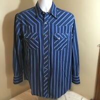 Wrangler Wrancher Mens Western Cowboy Pearl Snap Shirt Blue Striped Large FS!