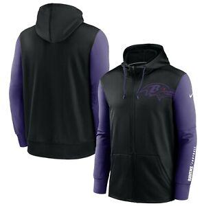 Baltimore Ravens Nike Sideline Mascot Full Zip Therma Black/Purple Hoodie